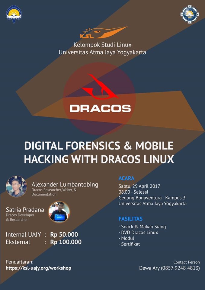 Alumni IT Del, Menjadi Pembicara pada Workshop Digital Forensics & Mobile Hacking with Dracos Linux