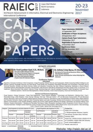 Call For Paper for The 3rd RAIEIC 2017 (Scopus Indexed), 20-22 November 2017, Medan, Indonesia