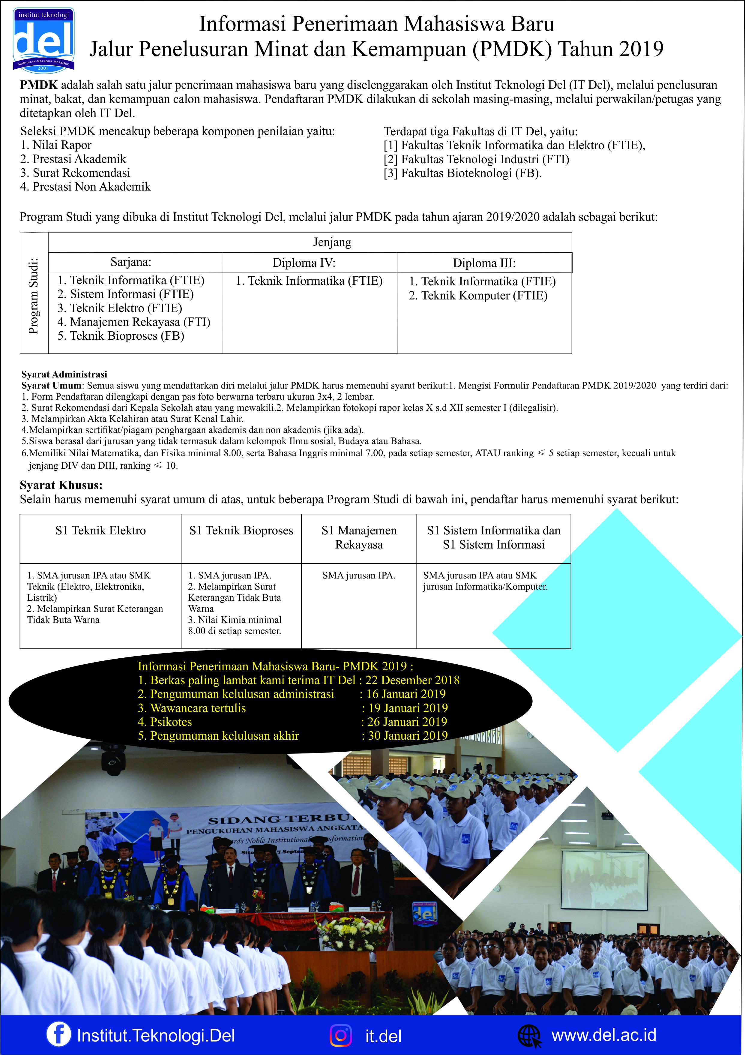 Informasi Penerimaan Mahasiswa Baru  Jalur Penelusuran Minat dan Kemampuan (PMDK) Tahun 2019
