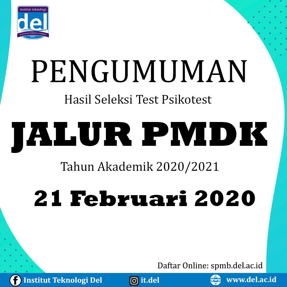 PENGUMUMAN HASIL SELEKSI TEST PSIKOTEST JALUR PMDK 2020/2021