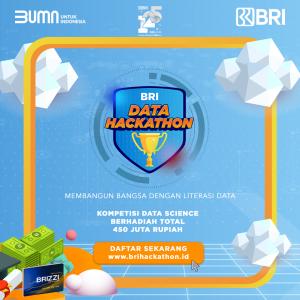 Yuk, ikutan BRI Data Hackathon 2021 dan raih kesempatan untuk memenangkan total hadiah senilai 450 juta Rupiah!!