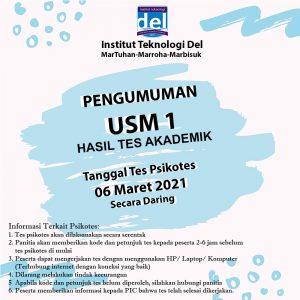 Pengumuman Hasil Seleksi Tes Akademik USM 1 T.A 2021/2022