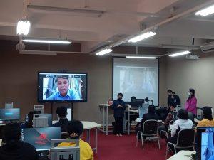 Foto Pemberian kata sambutan oleh Kepala Cabang Dinas Pendidikan Balige Provinsi Sumatera Utara secara virtual