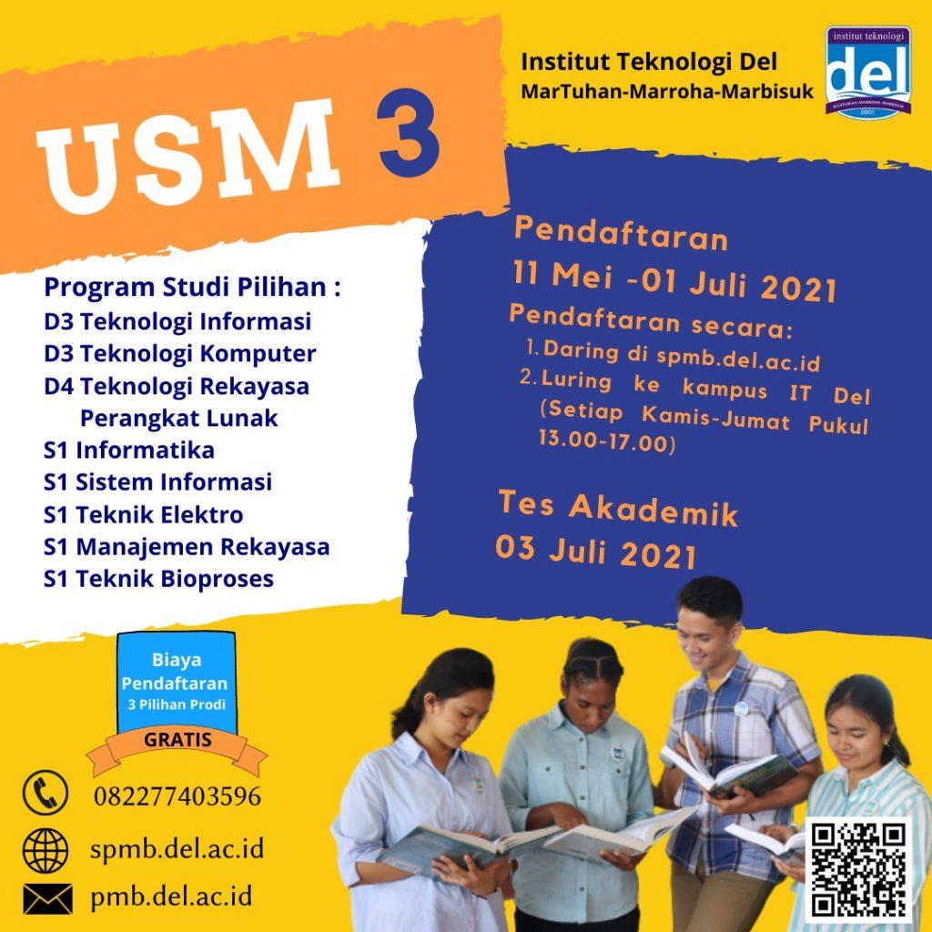 Informasi PMB Jalur Ujian Saring Masuk 3 (USM 3) 2021 & Jadwal Pelaksanaan Kegiatan